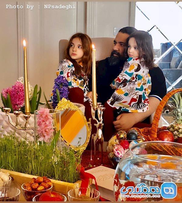 رضا صادقی و دخترانش در کنار سفره هفت سین